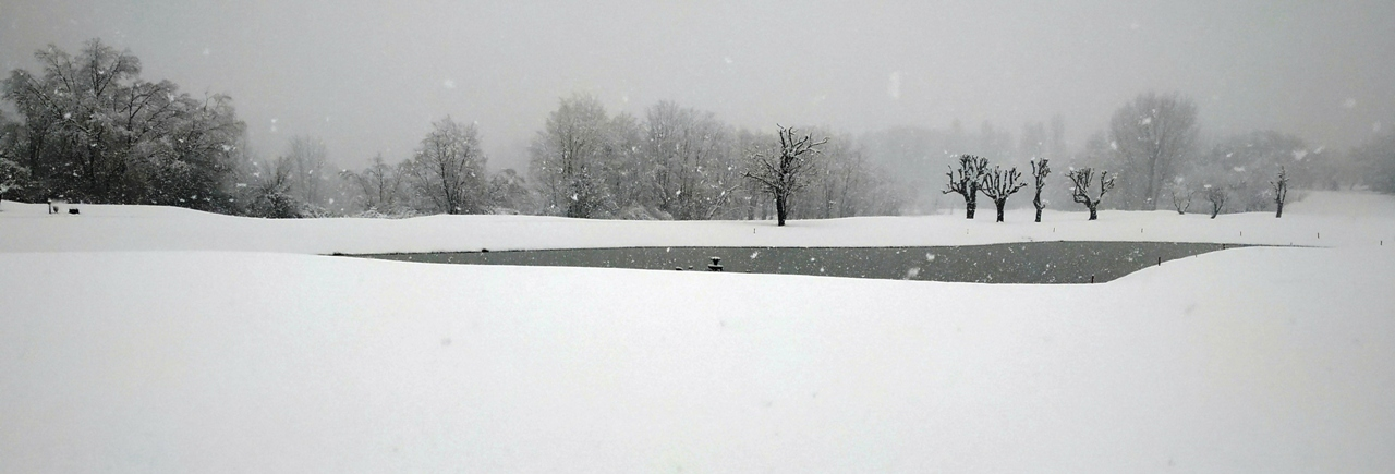 Latest Pictures of golf course covered in snow.